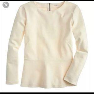 J Crew Ponte Peplum Cream blouse